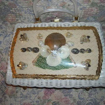 Vintage White Wicker Seashell Window Bag Purse Handbag
