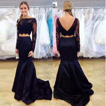 Two Piece Lace Black Backless Prom Dresses Evening Dresses