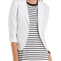 White Three-Quarter Sleeve Ruched Blazer by Charlotte Russe