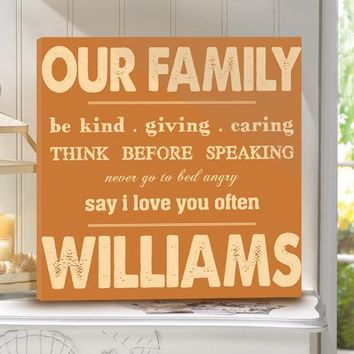 Rules of Our Family Personalized Canvas Print