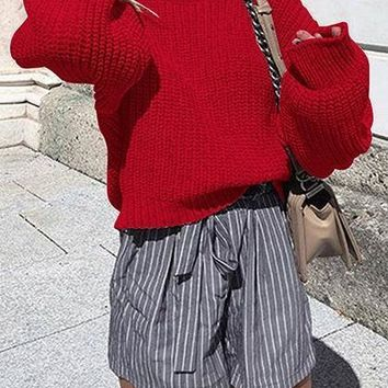 Red Crew Neck Long Sleeve Chic Women Knit Sweater