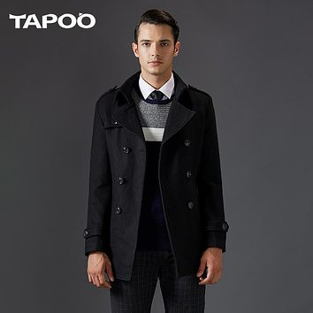 TAPOO Men's Winter Wool Coat Men Casual Business Overcoat Males Double Breasted Fashion Black Gray M-3XL Blends Coat TP7426028