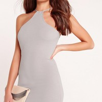 Missguided - Racer Neck Bodycon Dress Grey