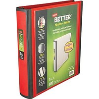 """1-1\/2\"""" Staples® Better® View Binders with D-Rings, Red 