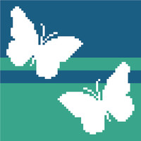 Two sweet butterflies in negative silhouette. Modern cross stitch pattern. Contemporary cross stitch design.