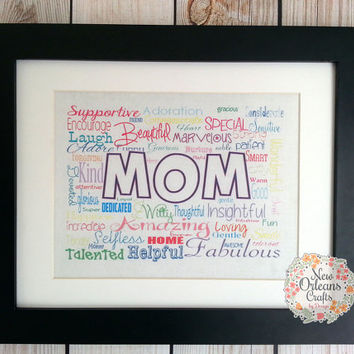 Mothers Day MOM 11x14 Framed White Cotton Fabric Print