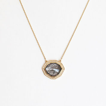 Anniversary Necklace, Anniversary gift, Rutile Quartz Necklace, Pave Diamond Necklace, Halo Diamond Necklace, Gift For Her, Wedding Necklace