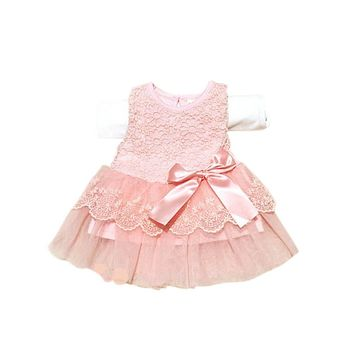UNIKIDS Cozy Baby Kids Girls Lace Bowknot Flower Dress Princess Dresses Formal Party Tutu Dress Children Clothes