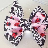Pink, Red & Black Lady Bug  Bow for Girl Dog or Cat Collar