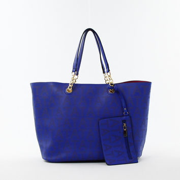 Perforated Double Bag Tote in Blue
