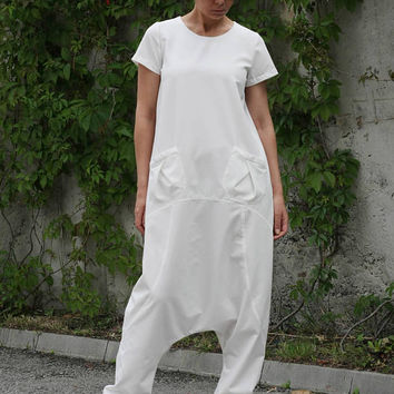 Fall Outfit / White Overalls / Drop Crotch Jumpsuit / Harem Jumpsuit / Harem Romper / Loose Jumpsuit / Low Crotch Jumpsuit SW7315