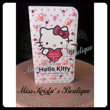 Hello Kitty iPhone 4 Case Leather Heart Pink Hard Plastic Cover Kitty Cat Pink Case Bling Pearls