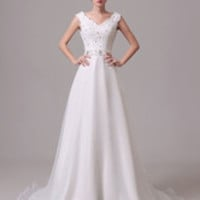 V-Neck Sash Bow Rhinestone Lace Tulle Wedding Gown