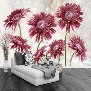 Modern Minimalist Pastoral Flower Art Large Mural Non-woven Wallpaper Living Room Bedroom Restaurant Custom Photo Wall Paper 3D