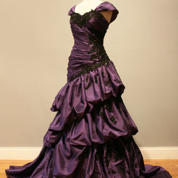 Purple and Black Gothic Wedding Dress Ball Gown - Angela Style