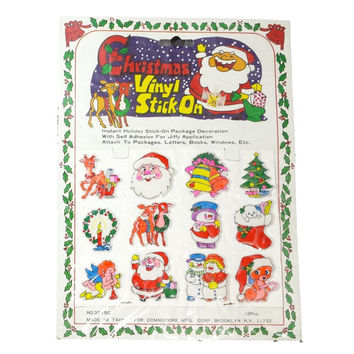 Vintage Christmas Puffy Stickers Retro Holiday Stick On Package Gift Decorations Vinyl 80s Sticker Set Santa Claus Reindeer Snowman Angel