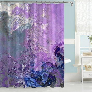 Abstract shower curtain, contemporary bathroom decor, lavender and blue contemporary shower curtain from original Lilac Festival