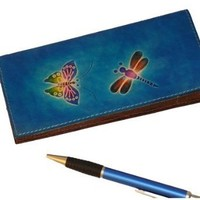 Real Leather Check Book Cover,Butterfly and Dargonfly Patterns Embossed on Both Side with different color(s).