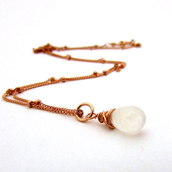 Rose gold moonstone necklace, white moonstone jewelry, rose gold jewelry, rainbow moonstone pendant, June birthstone, pink gold necklace