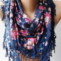 Dark Blue - flowered - Elegance  Shawl / Scarf with Lacy Edge