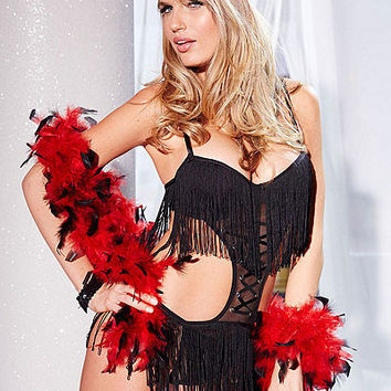 Black Halter Tie-Up Lace and Fringed Lingerie