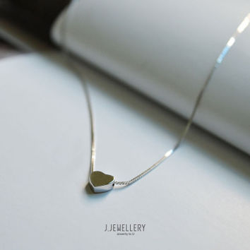 Simple Heart Silver Women Necklace Collarbone Chain for Anniversary Birthday Prom Graduation _ 5052
