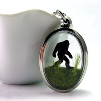 Sasquatch Bigfoot  Pendant, Terrarium locket with Creature, Mythical woodland creature, Silver Finish Unique Jewelry