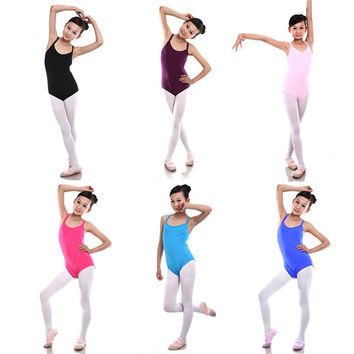 Hot Child Kids Sleeveless Leotard Girls Cotton Ballet Dancewear Gymnastics Leotards New