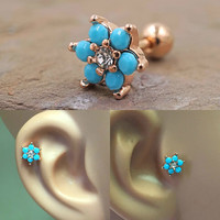 Turquoise Flower Rose Gold Cartilage Tragus Earring