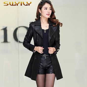 Genuine Leather Jacket Women Plus Size 5XL 2017 Slim Coat Jacket Women's Winter Long Big Size Long and Short 2 Style Cloth