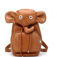ZLYC Super Cute Leather Elephant Backpack for School