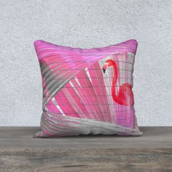 "Pink Flamingo Palm Frond Parrot Feather Decorative Pillow 18"" x 18"""