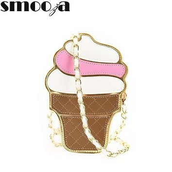 SMOOZA Cute Cartoon Women bag Ice Cream Cupcake Shape Mini Shoulder Bag Metal Chain Mobile Keys Coin crossbody Messenger Bag