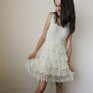 FREE SHIPPING Knit dress Ivory Lace Short dress Ruffle skirt Ruffle dress Empire waist dress Bridesmaid dress Summer Lightweight Ecru Kawaii