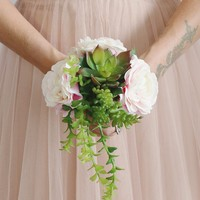 """Silk Ranunculus and Succulent Bouquet in Pink and Green - 11"""" Tall"""