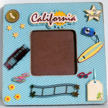 California Travel Frame - Hollywood Picture Frame - San Francisco Trolley Cars - Graduation Gifts - Blue Painted Distressed Wood Photo Frame