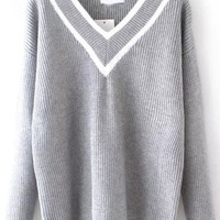 Grey V Neck Striped Knit Long Sleeve Sweater