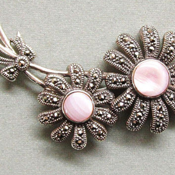 Sterling Silver Marcasite Daisy Flower  Pin Mother of Pearl Center