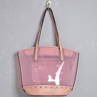 Studded Lucite Tote Bag