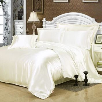 Solid Color White Color Satin Silk  Luxury Cool Bedding Set for Summer with Duvet Cover Flat Sheet Pillowcase