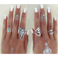 8Pc  Silver Plated Rings