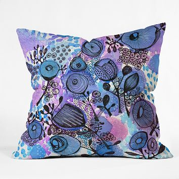 Julia Da Rocha Purple Flowers Bloom Throw Pillow