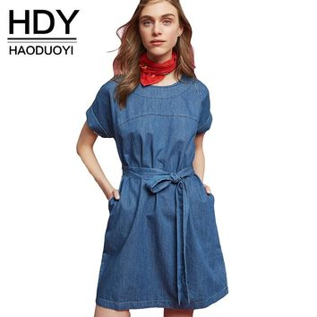 Women Casual Preppy Loose Short Sleeve Sashes  Brief Pockets Denim Blue Summer Dress
