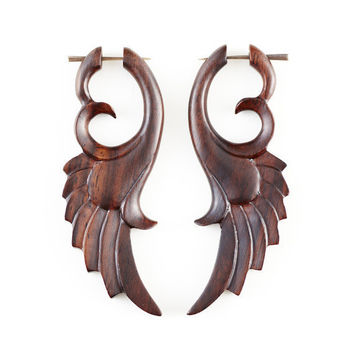 "Angel Wing Earrings - Fake Gauge Earrings - Wood Earrings Fake Piercing  - Sono Wood ""Angel Wing"" Earrings - SUPER SALE"
