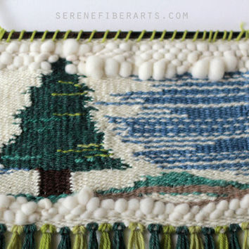 Handwoven Wall Art - Evergreen - Amanda J French Woven Tapestry with Fringe - Handspun and Hand-Dyed Yarn - Wall Hanging