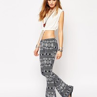 Glamorous Flare Trousers in Border Print