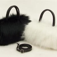 Womens Girls Trendy Faux Rabbit Fur Clutch Shoulder Bag Purse Handbag Tote New [XH] = 1931601540