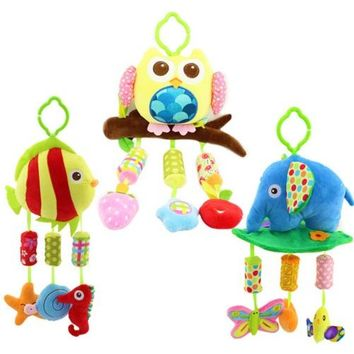 New Arrival Baby Toy Baby plush Owl Lathe Hanging Bells For Bed With 3 Wind Chimes Owl Elephant Little Fish Soft Toy