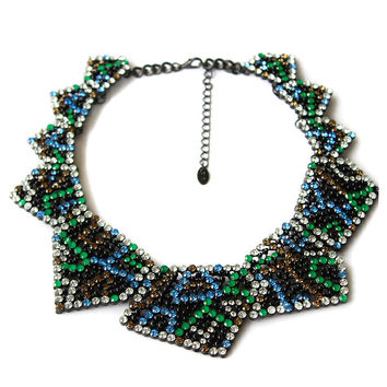 Colorful Rhinestone Triangle Collar Necklace