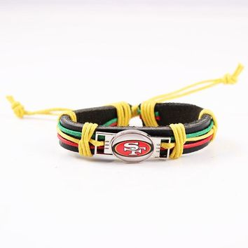 San Francisco 49ers Leather Cuff Bracelet USA Football Bracelets & Bangles Adjustable Rope Jewelry For Casual Sport Fan 6pcs